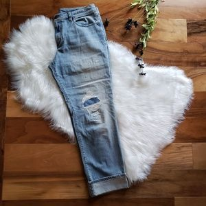 Loft Destructed Relaxed Straight Jeans